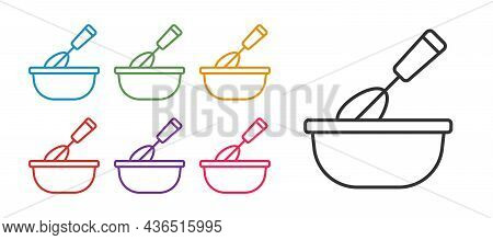 Set Line Cooking Whisk With Bowl Icon Isolated On White Background. Cooking Utensil, Egg Beater. Cut