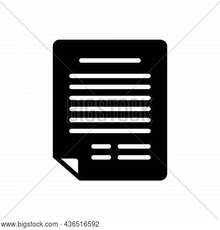 Black Solid Icon For Application Document Letter Contract Agreement  Archive Notepad Resume