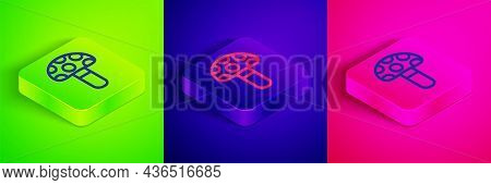 Isometric Line Psilocybin Mushroom Icon Isolated On Green, Blue And Pink Background. Psychedelic Hal