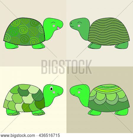 Set Of Vector Brown  Cute Turtles On  Beige Isolated Background. Animal Set.