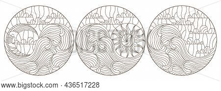 A Set Of Contour Illustrations In The Style Of Stained Glass With Seascapes, Dark Contours On A Whit