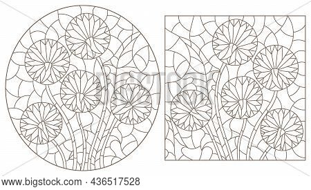 A Set Of Contour Illustrations In The Style Of Stained Glass With Abstract Dandelion Flowers, Dark C