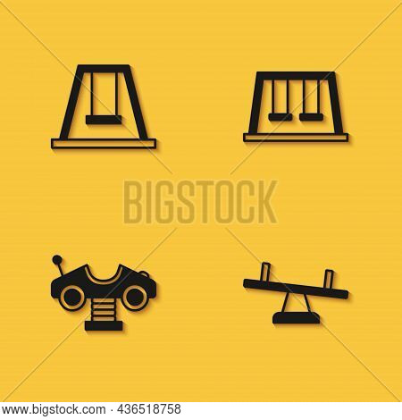 Set Swing For Kids, Seesaw, Car And Swings Icon With Long Shadow. Vector