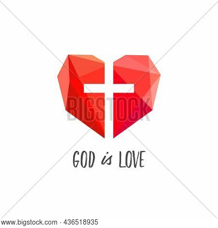 God Is Love Symbol. 3d Stained-glass Arts Style Heart And Jesus Cross. Creative Lovely Geometric Ico