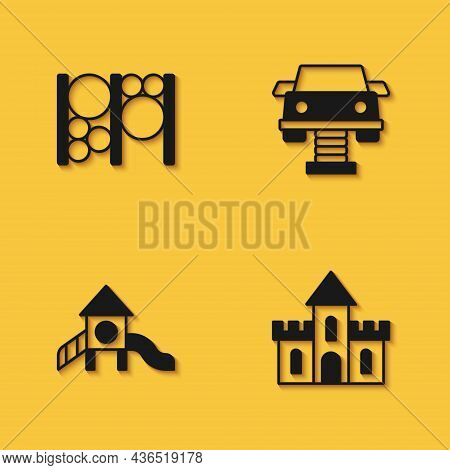 Set Playground Climbing Equipment, Sand Castle, Slide Playground And Swing Car Icon With Long Shadow