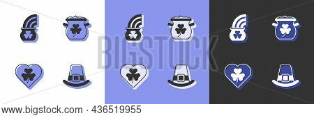 Set Leprechaun Hat, Pot Of Gold With Rainbow, Heart Clover Trefoil Leaf And Coins Icon. Vector