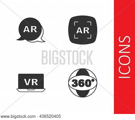 Set 360 Degree View, Augmented Reality Ar, Virtual And Icon. Vector
