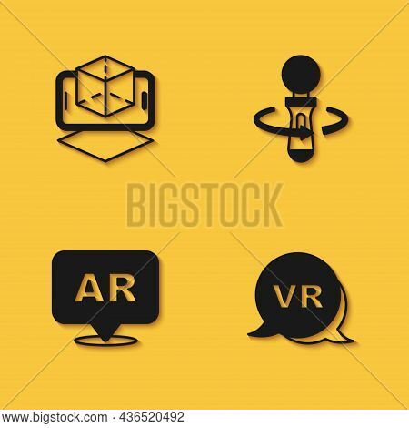 Set 3d Modeling, Virtual Reality, Augmented Ar And Vr Controller Game Icon With Long Shadow. Vector