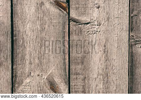 Old Wooden Plank Texture. Wooden Boards Decor. Gray Yellowed Weathered Wood. Wood Panel Arranged Ver