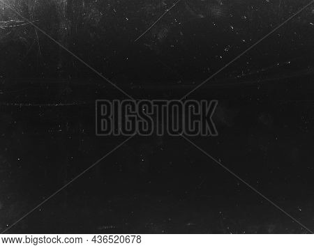 Grunge Overlay. Dust Scratch Texture. Weathered Chalkboard Surface. Aged Dirty Black White Film With