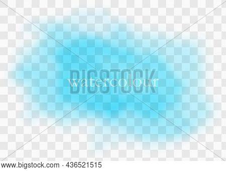 Cyan Watercolor Splash. Sky Blue Background.vector Illustratio