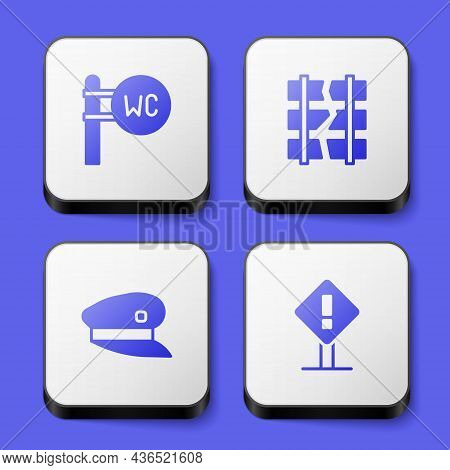 Set Toilet, Broken Or Cracked Railway, Train Driver Hat And Exclamation Mark Square Icon. White Squa