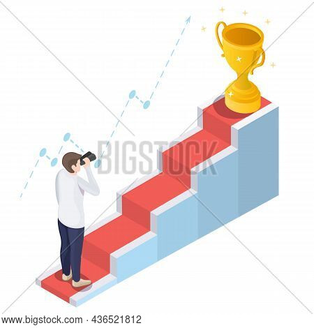 Businessman With Telescope In Front Of Staircase, Vector Isometric Illustration. Path To Success, Go