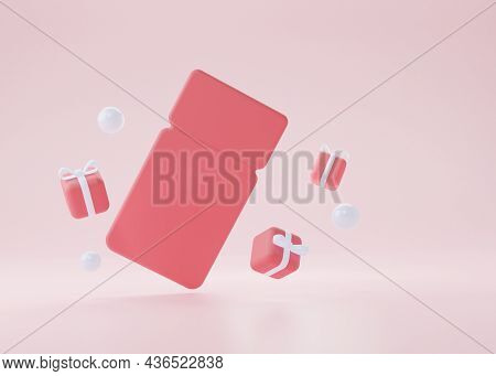 A Red Empty Coupon With Flying Gifts On A Pink Background. 3d Rendering Illustration.
