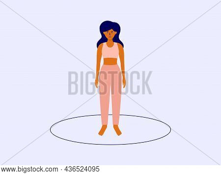 Personal Boundaries, Area Or Space Concept. Isolated Female Standing Inside Drawn Circle. Self Isola