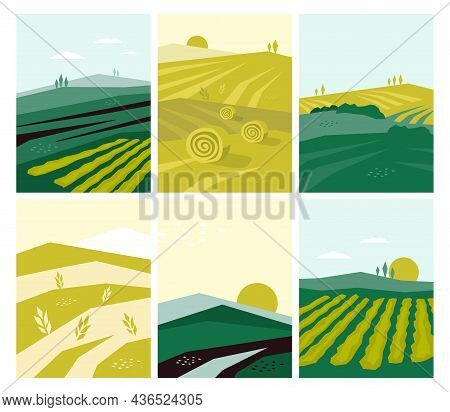 Set Of Vector Agriculture Posters With Farm Land, Nature Scenery, Agri Landscape. Agricultural Field