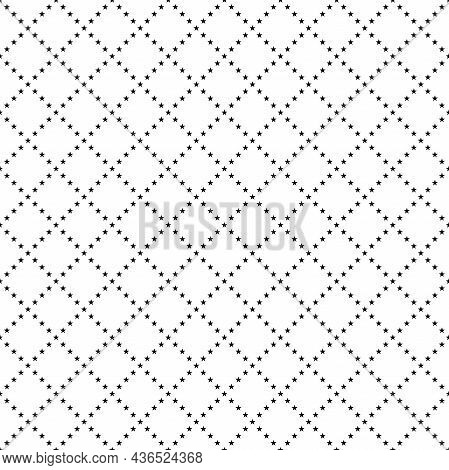 Seamless Background With Stars Grid On White Background. Black Beads String With Stars. Vector Illus