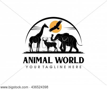 Animal Conservation Logo Design. Wildlife Safari Logo Design Template