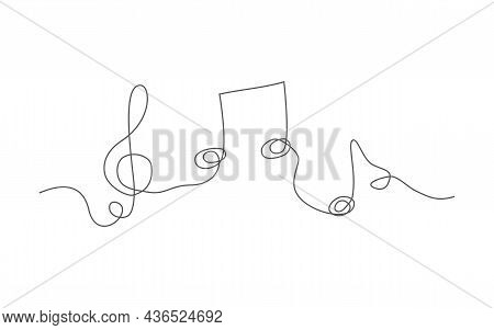 Music. One Line Drawing. Vector Music In Line Style