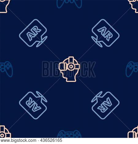 Set Line Gamepad, Augmented Reality Ar And Virtual Glasses On Seamless Pattern. Vector