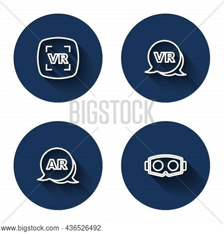 Set Line Virtual Reality, Augmented Ar And Glasses With Long Shadow. Blue Circle Button. Vector