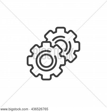 Setting Gear Line Icon. Linear Style Sign For Mobile Concept And Web Design. Cogwheel Gear Outline V