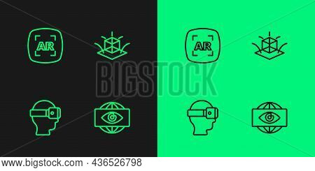Set Line Big Brother Electronic Eye, Virtual Reality Glasses, Augmented Ar And 3d Modeling Icon. Vec