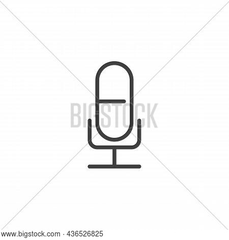 Microphone Line Icon. Linear Style Sign For Mobile Concept And Web Design. Mic Outline Vector Icon.