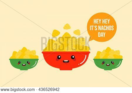National Nachos Day Greeting Card, Vector Illustration With Nacho Chips, Tortilla Chips In Colorful