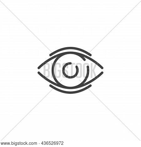 Eye View, Line Icon. Linear Style Sign For Mobile Concept And Web Design. Vision Eye Outline Vector
