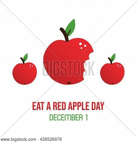 Eat A Red Apple Day Greeting Card, Vector Illustration With Cartoon Style Red Apple With Bite Mark.