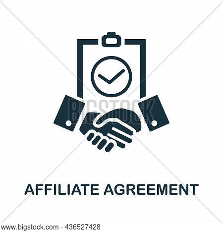 Affiliate Agreement Icon. Monochrome Sign From Affiliate Marketing Collection. Creative Affiliate Ag