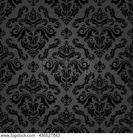 Classic Seamless Pattern. Damask Orient Dark Ornament. Classic Vintage Background. Orient Black Orna
