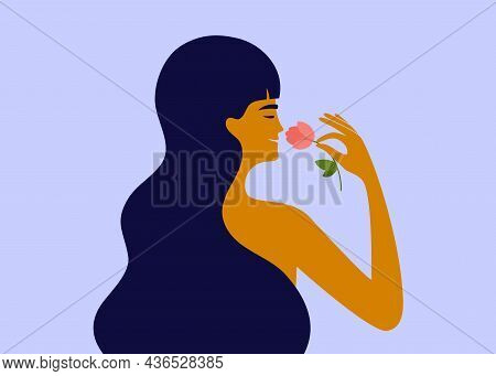 Beautiful Female With Flower. Smiling Woman Enjoying Smell Of Rose. Perfume, Natural Cosmetics. Self