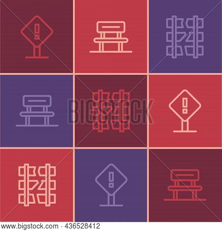 Set Line Exclamation Mark In Square, Broken Or Cracked Railway And Waiting Hall Icon. Vector