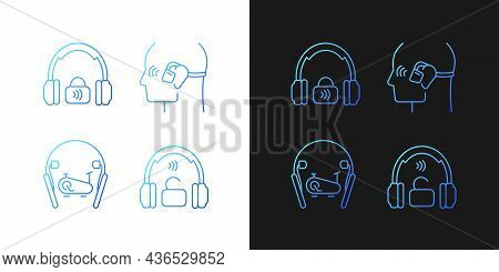 Wireless Headphones Gradient Icons Set For Dark And Light Mode. In Ear Earphones For Sport. Thin Lin