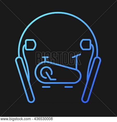 In Ear Neckband Headphones Gradient Vector Icon For Dark Theme. Wireless Headset For Active Workouts