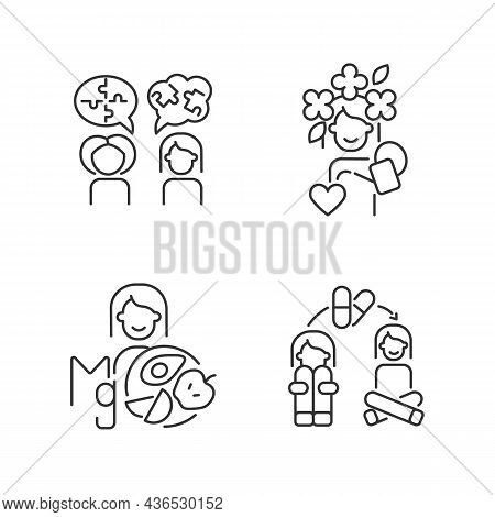 Mental Disorders Treatment Linear Icons Set. Depression Medication Therapy. Mental Health And Wellbe