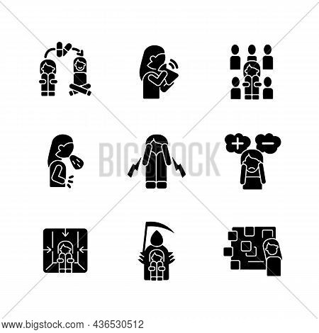 Phobias And Its Symptoms Black Glyph Icons Set On White Space. Vomiting And Nausea. Hyperventilation