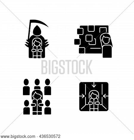 Fears And Phobias Black Glyph Icons Set On White Space. Fear Of Crowd And Death. Depersonalization D