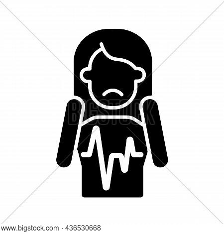 Heart Palpitations Black Glyph Icon. Fast Beating And Fluttering Heart. Panic Attack And Fear Sympto