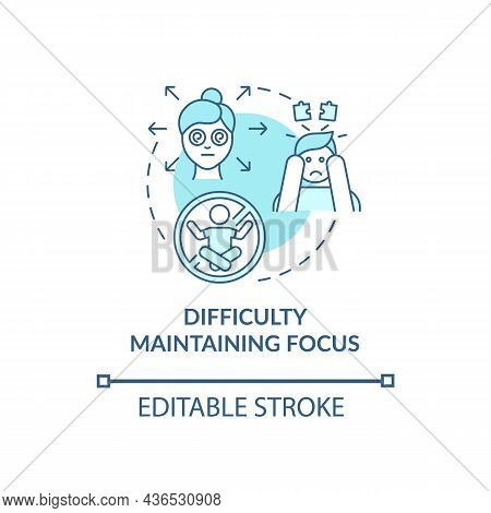 Difficulty Maintaining Focus Concept Icon. Inattentive Sign Abstract Idea Thin Line Illustration. Sc