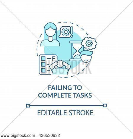 Failing To Complete Tasks Concept Icon. Inattentive Symptom Abstract Idea Thin Line Illustration. Un