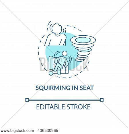 Squirming In Seat Concept Icon. Hyperactive-impulsive Symptom Abstract Idea Thin Line Illustration.