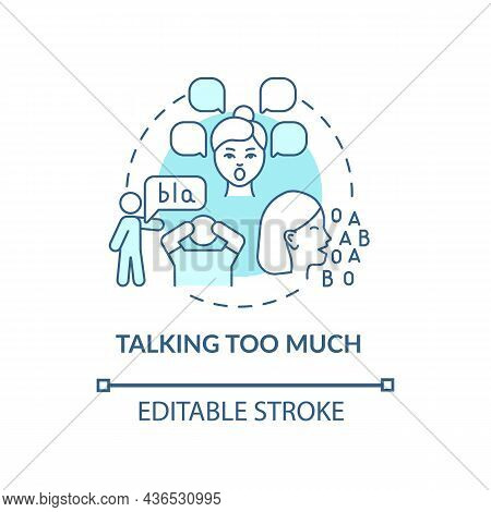 Talking Too Much Concept Icon. Hyperactive-impulsive Symptom Abstract Idea Thin Line Illustration. H