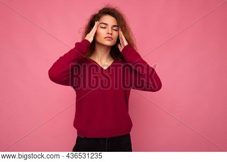 Portrait Of Young Emotional Beautiful Brunette Curly Woman With Sincere Emotions Wearing Trendy Pink