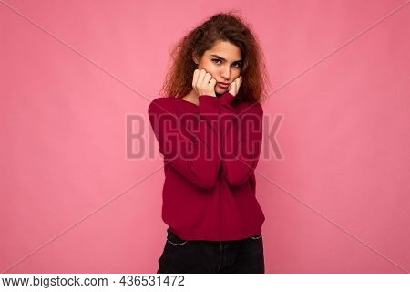 Portrait Of Young Emotional Offended Touchy Beautiful Brunette Curly Woman With Sincere Emotions Wea