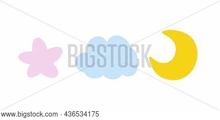 Cute Pink Star, Blue Clod And Yellow Moon Isolated On White Background. Childish Design. Vector Illu