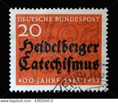 ZAGREB, CROATIA - JUNE 27, 2014: Stamp printed in Germany dedicated to 400 years of the Heidelberg Catechism, containing the doctrine of the reformed church, circa 1963