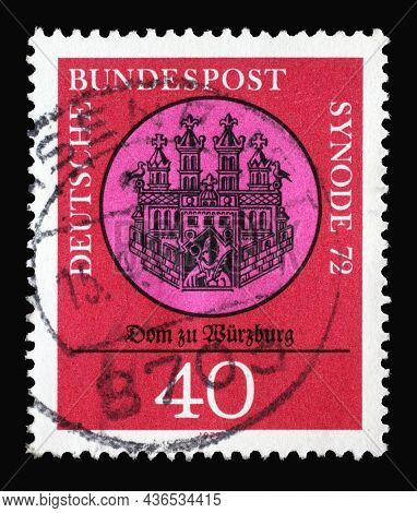 ZAGREB, CROATIA - JUNE 27, 2014: A stamp printed in Germany showing an old drawing of the Wurzburg cathedral, Synod of Catholic Bishops in Wurzburg, circa 1972